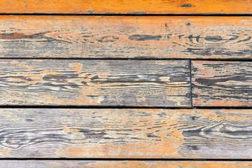 Old wooden planks with cracks, horizontal top view background.