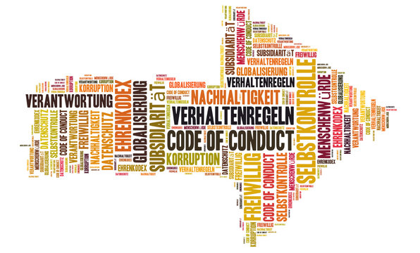 Code of conduct word cloud shaped as a arrow