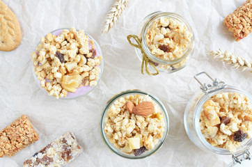 crunchy muesli bars with yogurt top view