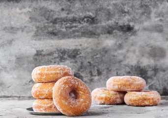 Traditional donuts with sugar topping
