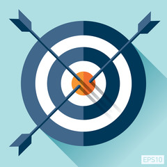 Target icon in flat style on color background. Three arrow in the center. Vector design element