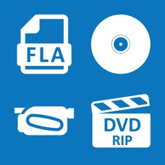 Set of 4 media filled icons
