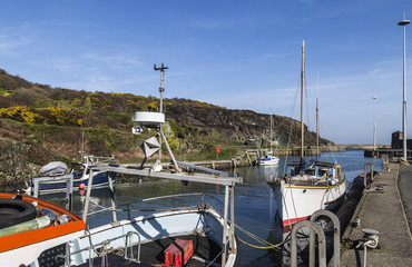 Idyllic early Spring day at Amlwch Port on Anglesey, Wales in the UK.