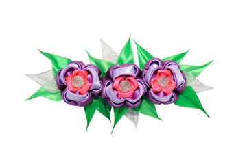 Wall Mural - Kanzashi. Pink  and purple artificial flower isolated on white b