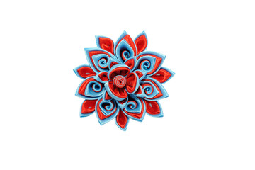 Wall Mural - Kanzashi. Red blue artificial flower isolated on white backgroun