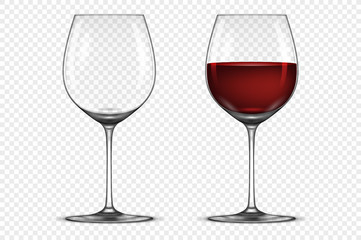 Vector realistic wineglass icon set - empty and with red wine, isolated on transparent background. Design template in EPS10.
