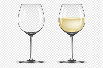 Vector realistic wineglass icon set - empty and with white wine, isolated on transparent background. Design template in EPS10.