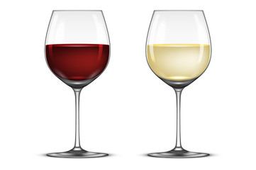 Vector realistic wineglass icon set - with white and red wine, isolated on white background. Design template in EPS10.
