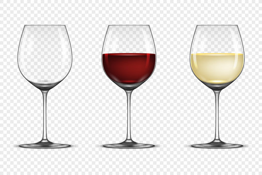 Vector realistic wineglass icon set - empty, with white and red wine, isolated on transparent background. Design template in EPS10.
