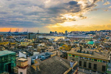 aerial view of the port of genoa in italy during sunset