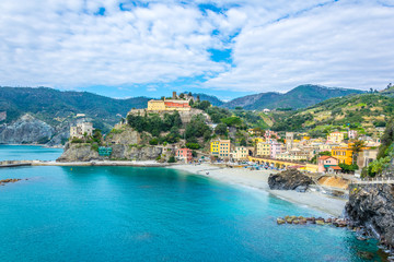 aerial view of monterosso al mare village which is part of the famous cinque terre region in Italy. Wall mural