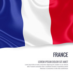 Silky flag of France waving on an isolated white background with the white text area for your advert message. 3D rendering.
