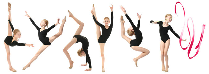 Girl doing gymnastics exercises on white background
