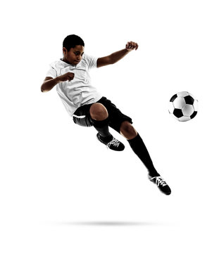 African-American youth football player on white background
