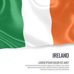 Silky flag of Ireland waving on an isolated white background with the white text area for your advert message. 3D rendering.