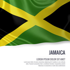 Silky flag of Jamaica waving on an isolated white background with the white text area for your advert message. 3D rendering.