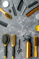 hairdresser working desk with tools on gray background top view mock up