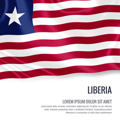 Silky flag of Liberia waving on an isolated white background with the white text area for your advert message. 3D rendering.
