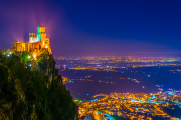 Night view of the Guaita, the First Tower of San Marino Wall mural