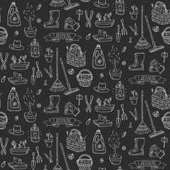 Seamless pattern with Hand drawn doodle set of Gardening icons. Vector illustration set. Cartoon Garden symbols. Sketchy elements collection: lawnmower, trimmer, spade, fork, rake Hoe Trug Wheelbarrow