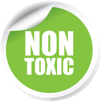 Non toxic Sticker, Label or Badge Isolated on White Background.