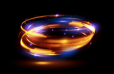 Glow effect. Ribbon glint. Abstract rotational border lines. Power energy. LED glare tape..Luminous shining neon lights cosmic abstract frame. Magic design round whirl. Swirl trail effect.