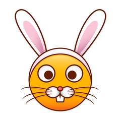 Cute emoticon with a rabbit costume. Easter holidays isolated vector design