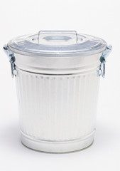 single metallic trashcan with cap isolated