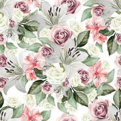 Bright watercolor seamless pattern with flowers lilies, roses, leaves and alstroemeri. illustrations