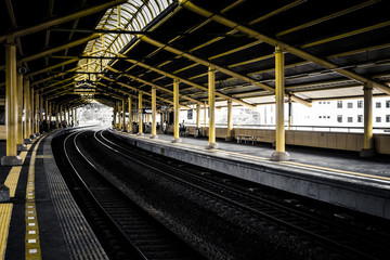 empty platforms in train station photo taken in Jakarta Indonesia