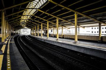 empty platforms in train station photo taken in Jakarta Indonesia