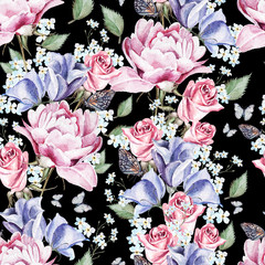 Bright watercolor seamless pattern with flowers peony, eustoma, roses and forget-me. illustrations