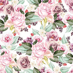 Photo sur Aluminium Fleurs Vintage Bright watercolor seamless pattern with flowers roses and peony, berry and raspberry. Illustration