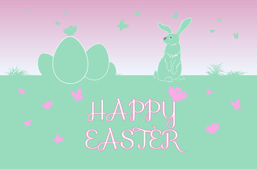 Sweet Easter Bunny with butterflies.  Outline and Text. Vector