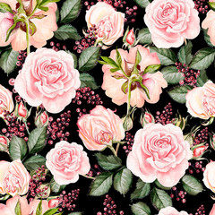 Bright watercolor seamless pattern with flowers roses, berry. Illustration.
