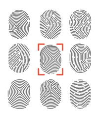 Fingerprints or fingertip print identification vector icons set