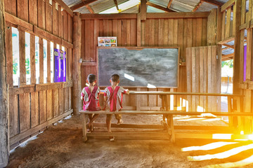 Students in classroom;Tribal students in rural; Hill tribe school.