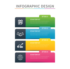 Infographics tab index 4 option template. Vector illustration background. Can be used for workflow layout, data, business step, banner, web design.