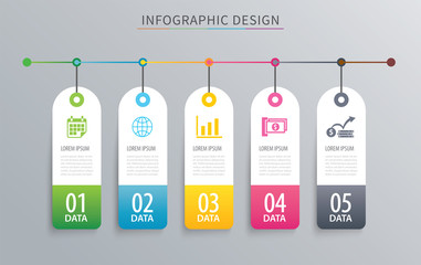Infographics tag banner 5 option template. Vector illustration background. Can be used for workflow layout, data, business step, web design.