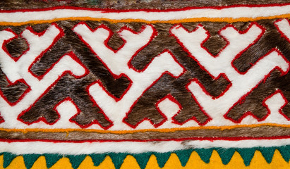 A journey into Siberia, Russia. Pattern from pieces of reindeer skin at the Finno-Ugric peoples Khanty and Mansi