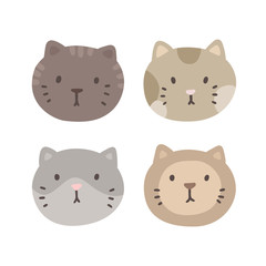 Set of four cats faces. Vector hand drawn illustration