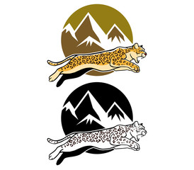 Jumping Leopard And Mountain Background