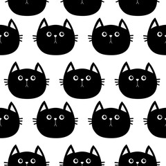 Black cat. Cute cartoon character. Baby pet collection. Seamless Pattern Wrapping paper, textile template. White background. Flat design.
