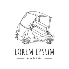 Hand drawn icon of golf cart, isolated on white background, sport vector illustration, logo design template in modern sketchy style. Modern linear branding element for golf club company Golf car