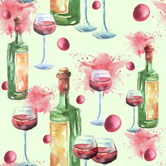 Watercolor seamless pattern with a picture of a bottle of wine, a wine glass, a glass with red wine, a berry, a glaze. Vintage illustration