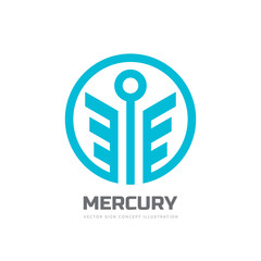 Mercury - vector logo template concept illustration. Stylized God of trade abstract creative symbol. Happiness business symbol. Wings in circle shape. Design element.