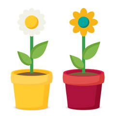Flat vector flower in pot set