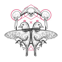 Two birds with human skull and geometric elements in retro vintage style. Template for tattoo, print, cover. Vector illustration.