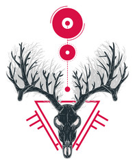 Skull of deer with thick horns in shape of forest and abstract red geometric shapes. Vector illustration in vintage retro style for covers, tattoos, stickers.