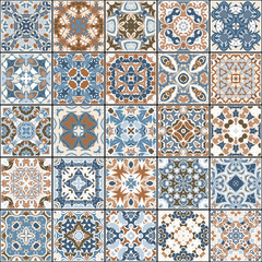A collection of ceramic tiles in blue and brown colors. A set of square patterns in eastern style. Vector illustration.